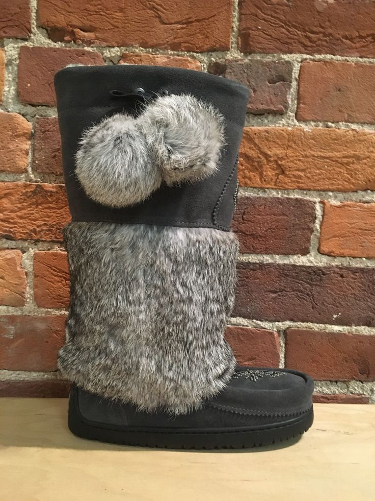 MANITOBAH MUKLUKS - SNOWY OWL SUEDE MUKLUK IN CHARCOAL