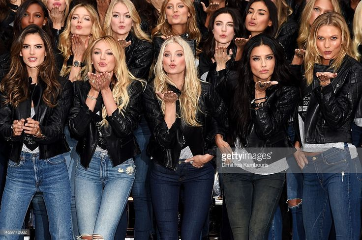 Victoria's Secret Models Alessandra Ambrosio, Candice Swanepoel, Elsa Hosk, Adriana Lima and Karlie Kloss attend the 2014 Victoria's Secret Fashion Show - Bond Street Media Event on December 1, 2014 in London, United Kingdom.