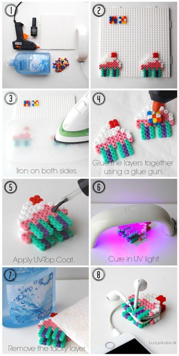 cupcake cord organizer made from perler beads