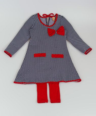 Love this Navy & Red A-Line Tunic & Leggings - Toddler & Girls on #zulily! #zulilyfinds
