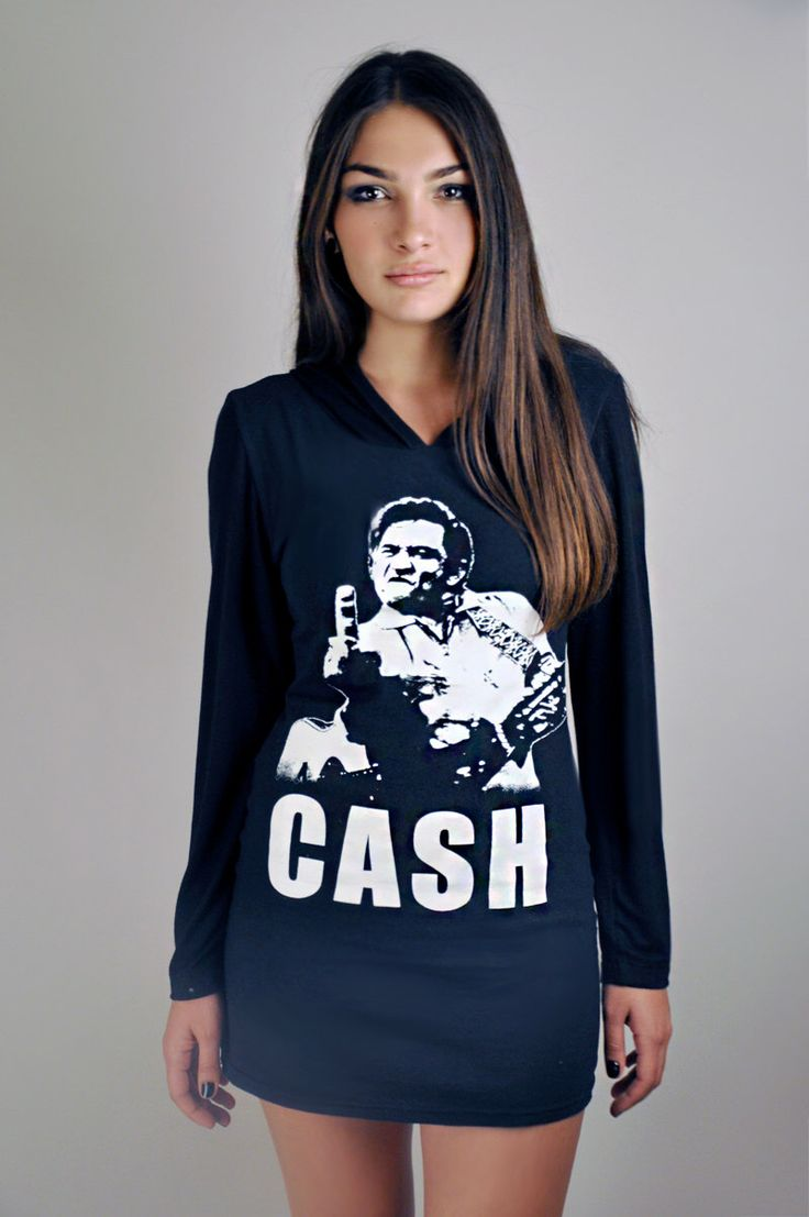 Black t shirt dress etsy - Johnny Cash Hoodie Dress By Veraseyecandy On Etsy Https Www Etsy