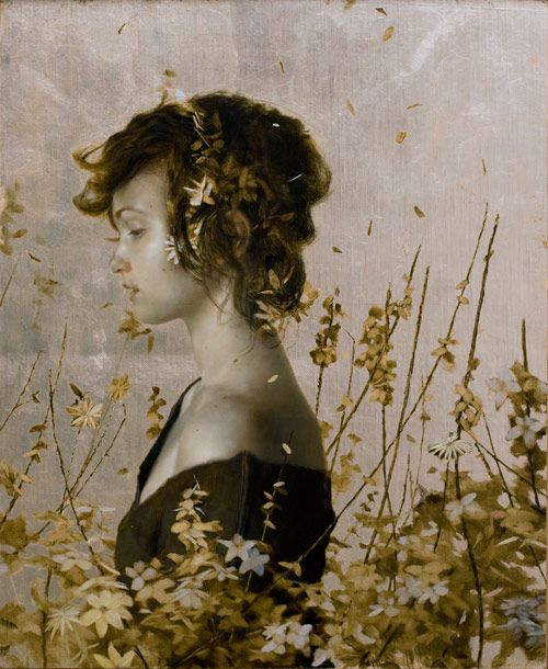 NYC-based, Pennsylvania born Brad Kunkle's highly detailed works are definitely stunning. He captures women, sometimes sleeping, sometimes as if captured in a dream sequence, amongst piles of leaves, surrounded by nature, sometimes with hyperreal quality and other times more abstract and fleeting.