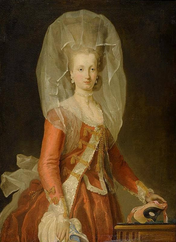 "This 18thc. lady is ready for a masquerade in her elaborate costume, her towering hair draped with a veil for mystery, & her mask in hand. (""Noblewoman with a Mask"", attrib. to Charles-Amédée-Philippe van Loo (French 1719-1795). c1770s. Private collection.)"