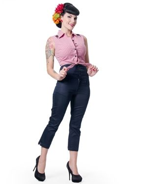 Steady Clothing Rock Steady Women's High Waist Capris Vintage inspired 1950's clothing 1950's style vintage clothing pinup girl greaser girl...