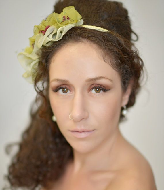 Small ruffle headpiece hat with two-tone olive by WhereIsTheCat