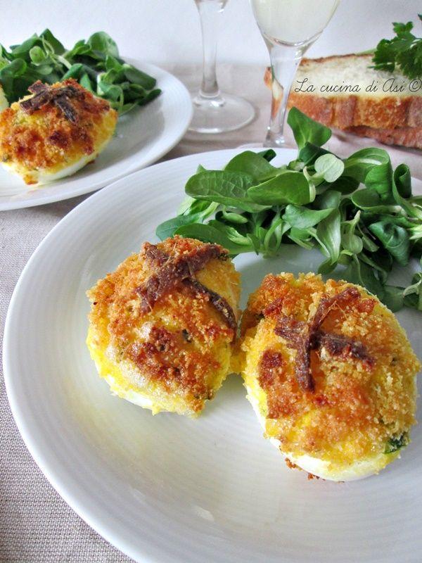Oggi delle uova farcite gratinate molto gustose e saporite da mangiare sia tiepide che fredde con una sfiziosa gratinatura... Ricette La cucina di ASI
