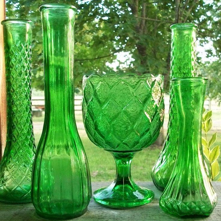 SALE Set of 5 Vintage Emerald Green Vases and Planter. $16.00, via Etsy.