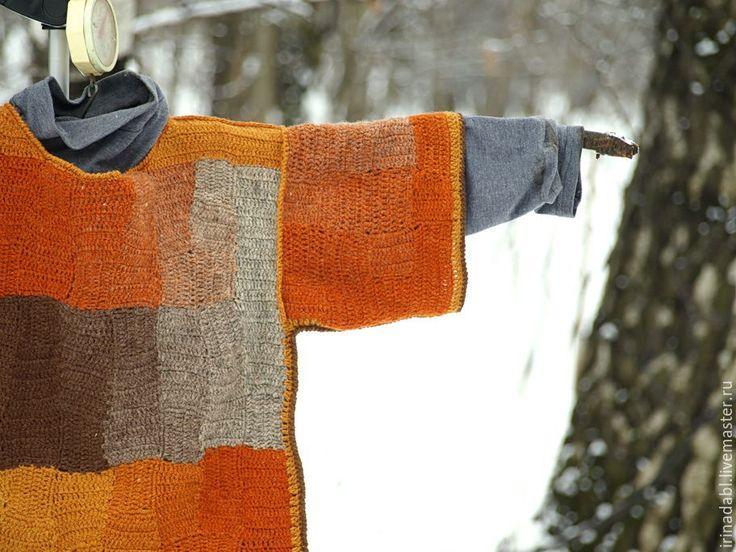 Купить Кимоно Лисья свадьба - рыжий, абстрактный, оранжевый, желтый, серый, коричневый, джемпер вязаный