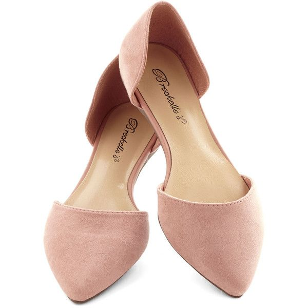 ModCloth Minimal Navigating the Neighborhood Flat ($30) ❤ liked on Polyvore featuring shoes, flats, ballet flat, pink, flat, striped ballet flats, flat pumps, pink flats, ballet shoes and d'orsay flats