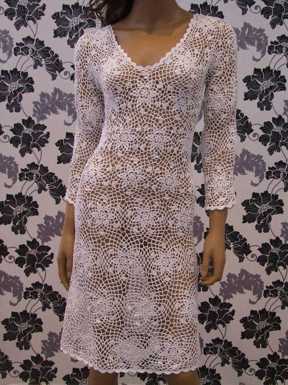Crochet dress/beach dress, coctail dress, evening dress made of cotton
