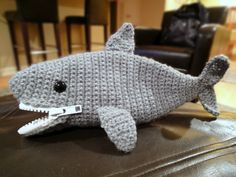 Crochet shark pencil case. Free crochet amigurumi pattern that kids will love!
