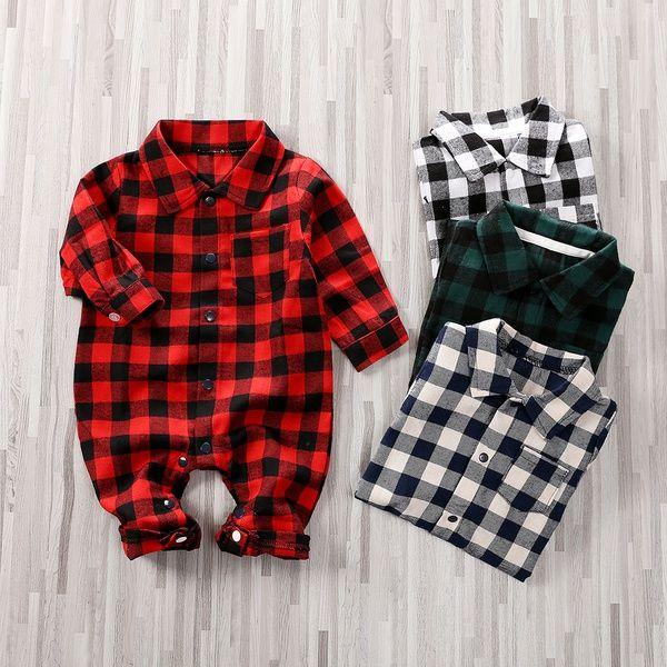 Vintage Romper Size 3 Months White and Plaid Romper Onesie for Baby With Collar