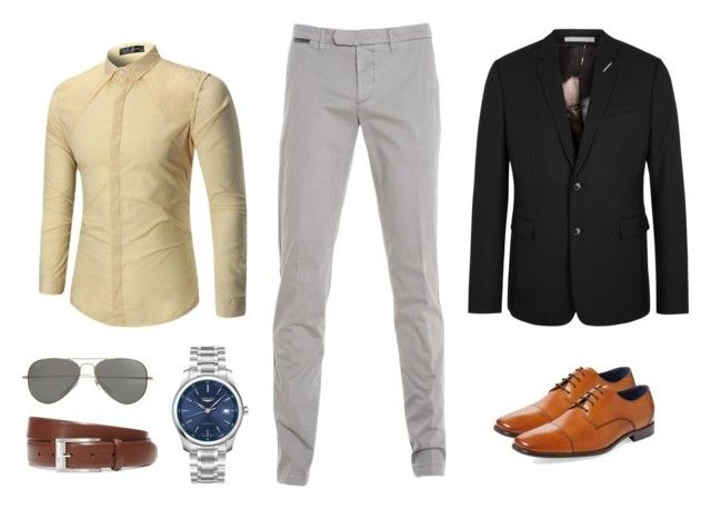 """17. Camisa Beige Pantalón gris claro"" by andreamariafernandez on Polyvore featuring Eleventy, Christian Dior, Longines, HUGO, Parasol, Gordon Rush, men's fashion and menswear"