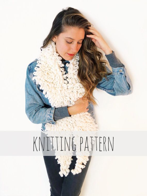Penny Lane Collar Pattern by TwoOfWandsShop // knitting pattern for faux shearling fake fur almost famous loop stitch collar scarf // two of wands