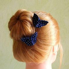 Pinces rétro papillon origami en tissu coton bleu marine à pois blancs, accessoires cheveux, barrettes