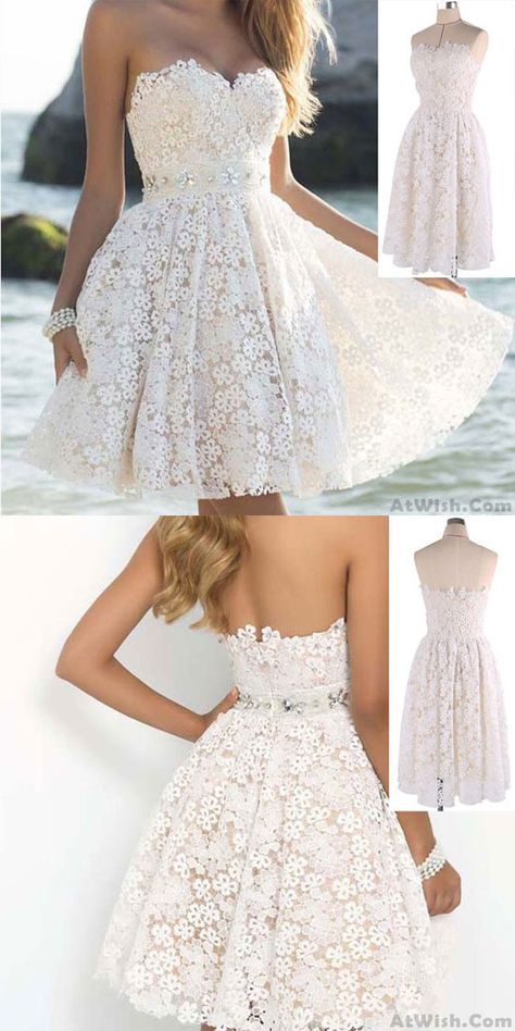 1dfc912a9ed Elegant Strapless Party Women s A Line Flower Lace Prom Short Dresses only   32.99 in 2019