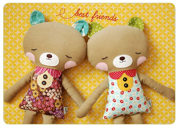 Ruthie Bear (and friend) pattern from Retro Mama's Etsy shop. For the four-year-old who does NOT like dolls. (Well, really it's for the Auntie who wants to sew doll clothes for the four-year-old who does NOT like dolls...)