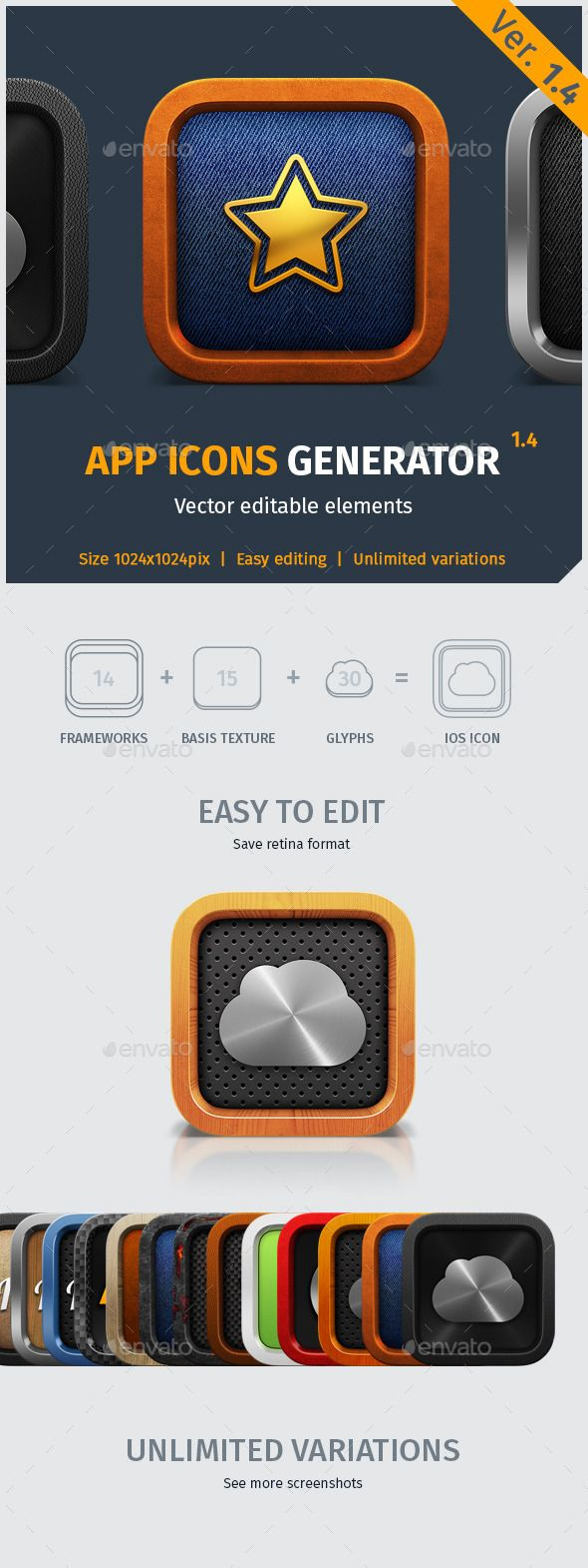 App Icon Generator V.1.4 — Photoshop PSD #ios #wood • Available here → https://graphicriver.net/item/app-icon-generator-v14/4493625?ref=pxcr