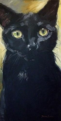 Daily Paintworks - Diane Irvine Armitage Black cat art perfection, in my painter's opinion.