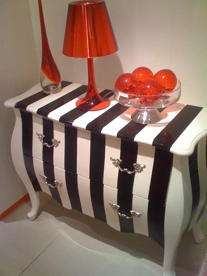 Black & white stripped dresser