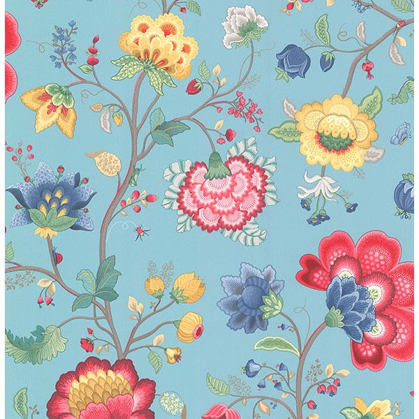341035 Light Blue Floral Fantasy - Epona - PIP III Wallpaper by Eijffinger