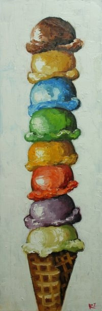 Ice Cream Cone 3 12x36 inch original still life oil painting by Roz. $275.00, via Etsy.