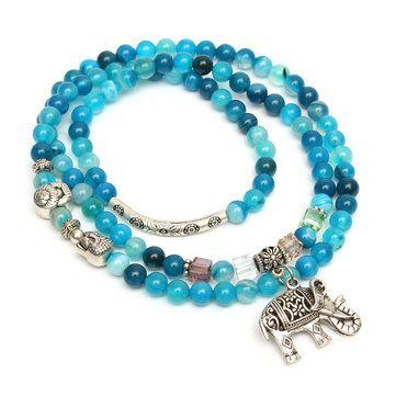 Natural Agate Crystal Vintage multi-layer Blue Tourmaline Buddha Head Bracelets at Banggood