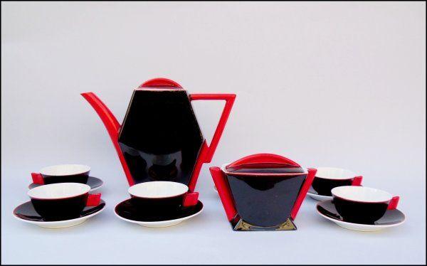 Serwis porcelanowy do małej kawy na 6 osób, porcelana malowana, wzór Kaprys, proj.B.Wendorf ( 1932-34 r.) Ćmielów II poł. XX w,.