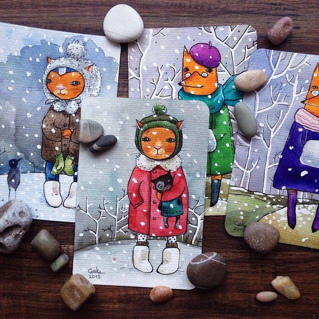 У нас пасмурно и дождливо  а я так хочу снегопад! Чтоб СНЕЖИНКИ ❄️❄️❄️❄️❄️❄️хлопьями медленно так кружились.... Вот рисую мечты свои о настоящей зиме ❤️ Новые акварельные  открытки уже на сайте, можете там их выбрать и оформить покупку  Всем удачи! И снега!✌️ #Padgram