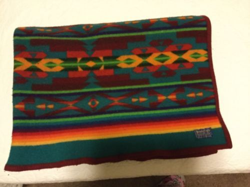 VTG-PENDLETON-WOOL-BLANKET-BLUE-BEAVER-STATE-SOUTHWESTERN-NATIVE-TRIBAL-46x65