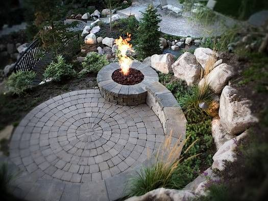 round patio and fire pit... now for the mountain