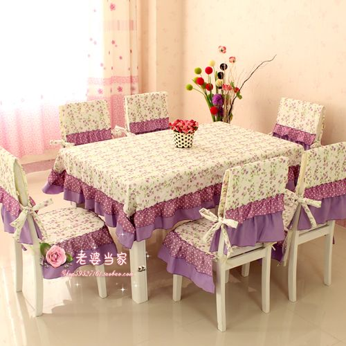 13pcs lace dining table cover set Classic beautiful rustic table cloth big size chair cushion cover purple princess hometextile $88.80