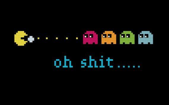 Pac Man Cross Stitch Pattern - Retro Video Game