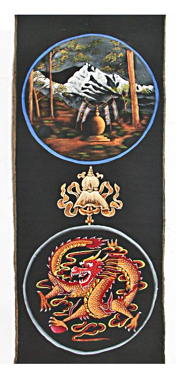 Buddhist Stupa in the Himalayas and Chinese Dragon (Painting on Cotton - Unframed)