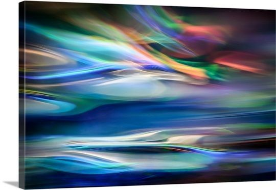"Large colorful and vibrant abstract image created by artist Ursula Abresch. Expand your horizons with ""Blue Lagoon"" from GreatBIGCanvas.com"