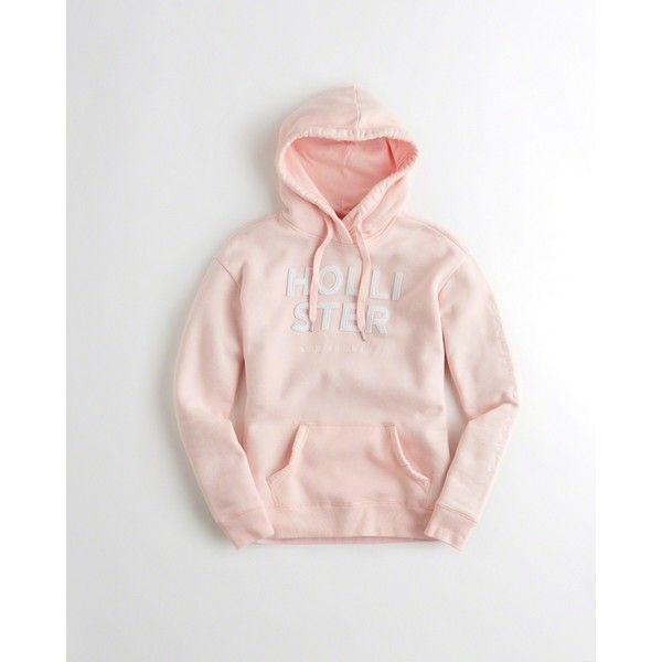 Hollister Logo Graphic Hoodie ($50) ❤ liked on Polyvore featuring tops, hoodies, pink, sweatshirt hoodies, fleece hooded sweatshirt, fleece hoodies, embroidered hoodie and hooded pullover