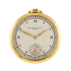 An open face pocket watch by Patek Philippe.