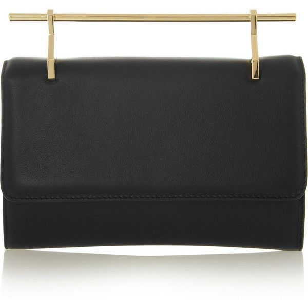 M2Malletier Fabricca leather clutch (£915) ❤ liked on Polyvore featuring bags, handbags, clutches, purses, black, top handle handbags, real leather handbags, leather man bag, genuine leather handbags and leather clutches