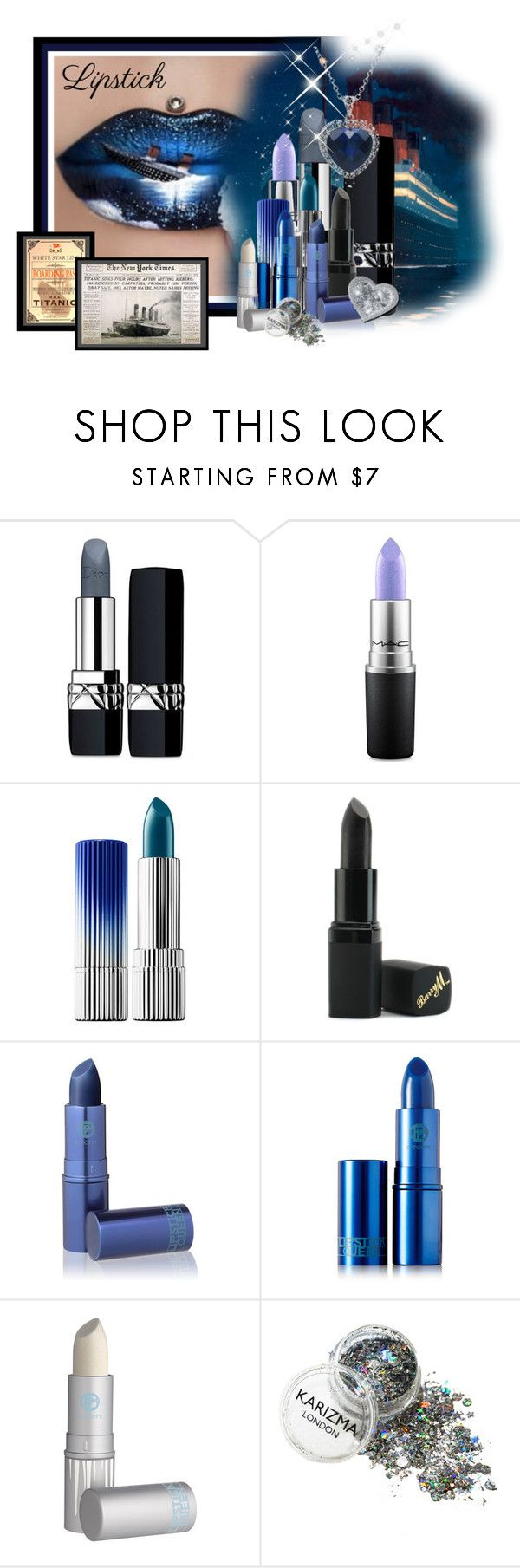 """Metallic Lipstick"" by lilarose111 ❤ liked on Polyvore featuring beauty, Christian Dior, MAC Cosmetics, Estée Lauder, Barry M, Lipstick Queen and Amanda Rose Collection"