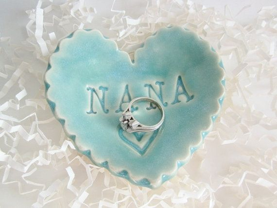 A special gift for Nana, this heart jewelry holder is a place for her to put her rings and earrings when not wearing them. Wedding gift for Nana Christmas gift Birthday gift Just because you love Nana gift  •♥• Gift Box Upgrade.  https://www.etsy.com/listing/113577956/gift-box-upgrade?ref=shop_home_active_1  Size: 3 by 3 Color:Mint green crackle  Enjoy and happy shopping.