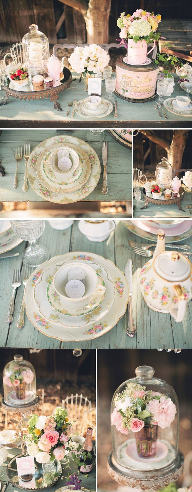 Tea Party! I think this would be great for a bridal shower or even as inspiration for a reception. I love the flowers!