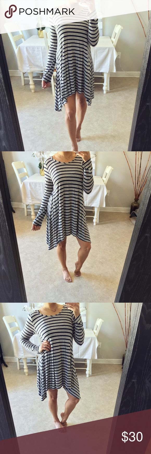 Long sleeve flowy dress Super soft and flowy. Light gray and navy blue stripes Dresses Long Sleeve