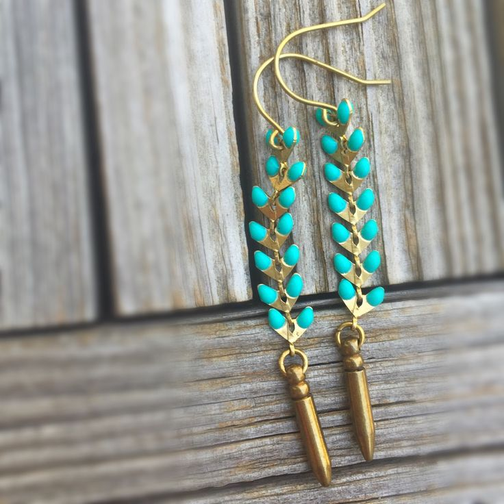 Turquoise and Brass Earrings - Point Jewelry -Brass Jewelry - Modern - Spike Earrings by jewelrybycarmal on Etsy https://www.etsy.com/listing/243495357/turquoise-and-brass-earrings-point