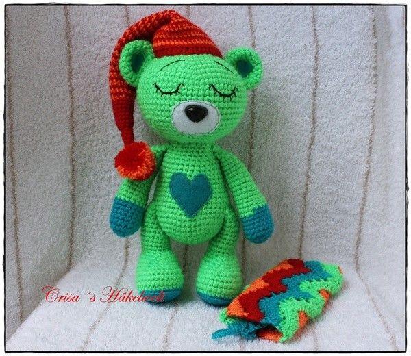 #Häkelanleitung - Teddybär <3 https://www.crazypatterns.net/de/items/17580/gute-nacht-teddybaer-mit-kuscheldecke