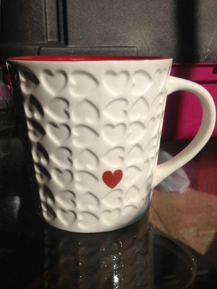 STARBUCKS 2007 EMBOSSED RED U0026 WHITE VALENTINE HEARTS 16oz COFFEE TEA MUG CUP
