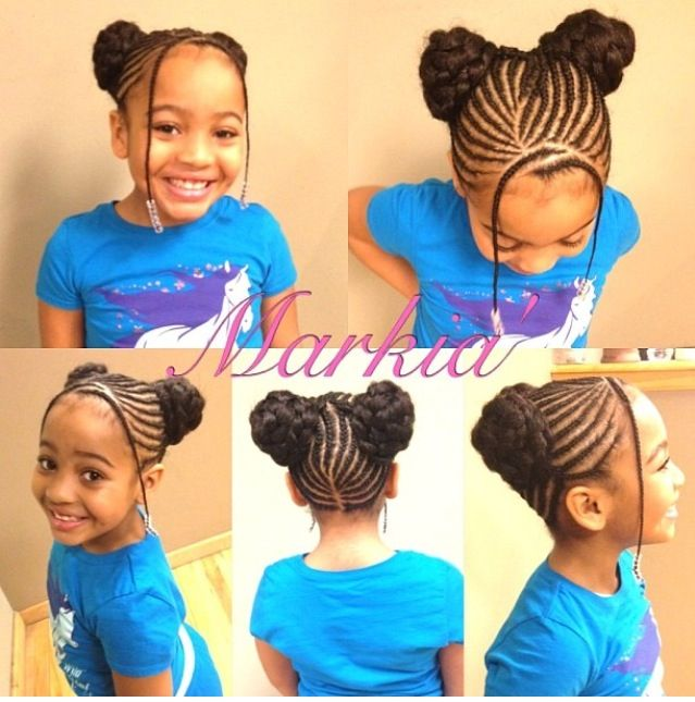 Braided buns, bangs, beads