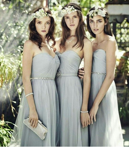 David's Bridal bridesmaid dresses pastel grey soft grey flower crowns sweet heart