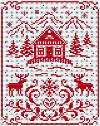 scene. House, trees, mountains, moose (deer?), mountains, snow). Free sewing pattern graph for cross stitch or plastic canvas.