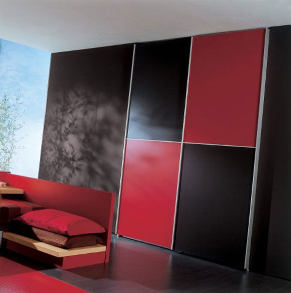 elegant black and red bedroom