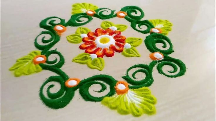 Easy, quick and small rangoli design in just less than 5 min | Daily ran...